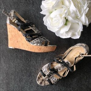 Guess • Strappy braided snakeskin print wedges